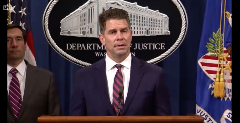 FBI Deputy Director David L. Bowdich speaks during a press conference Tuesday, July 21 to announce the unsealing of an indictment against two alleged Chinese hackers.